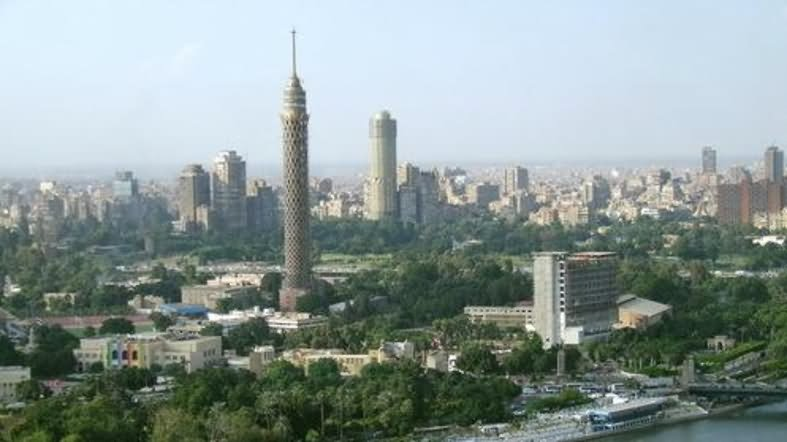 The Cairo Tower And Surrounding Buildings