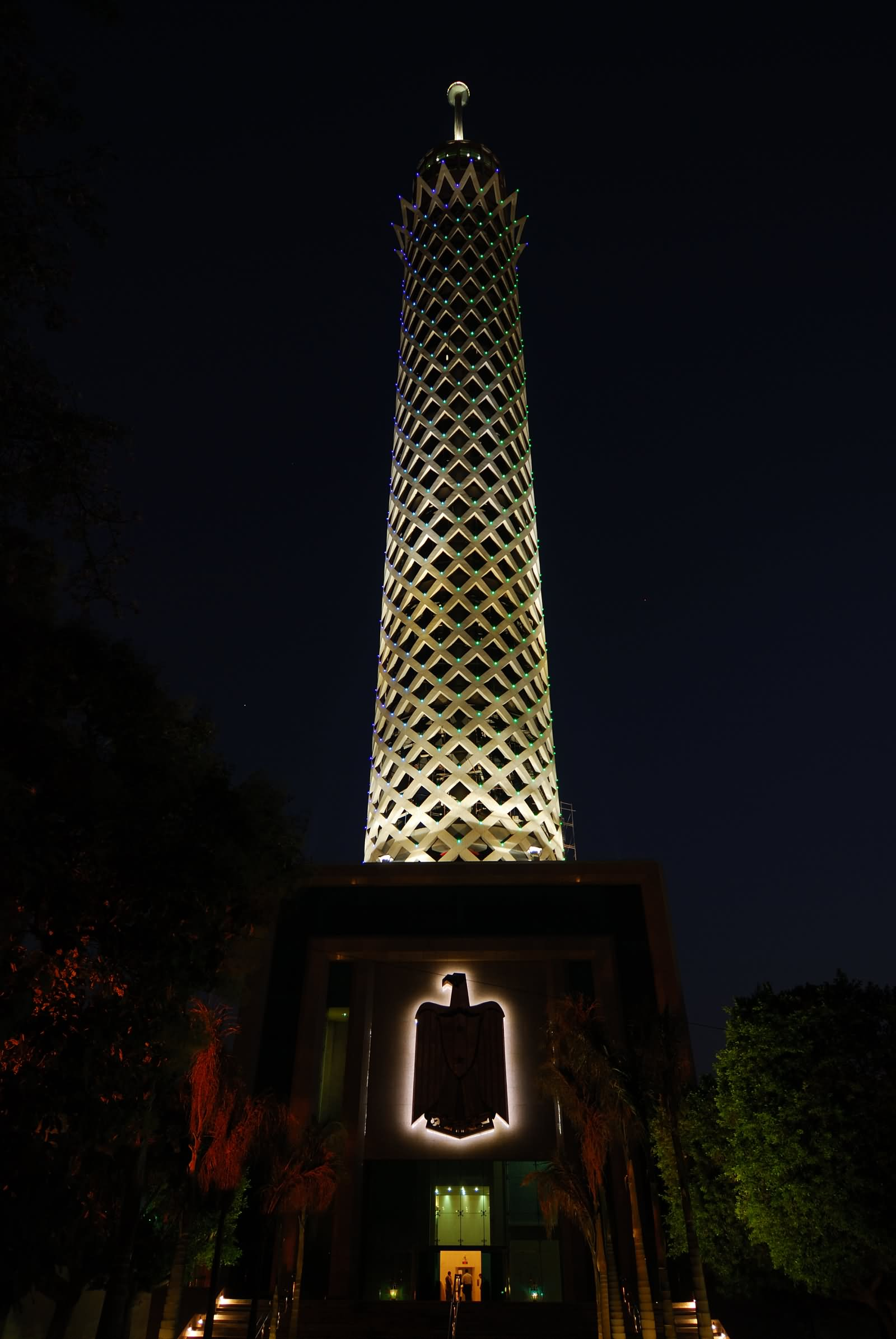 The Cairo Tower At Night View From Below