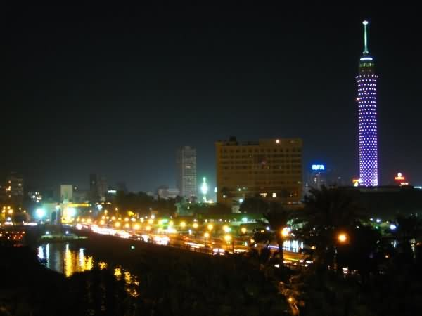 The Cairo Tower Lit Up At Night