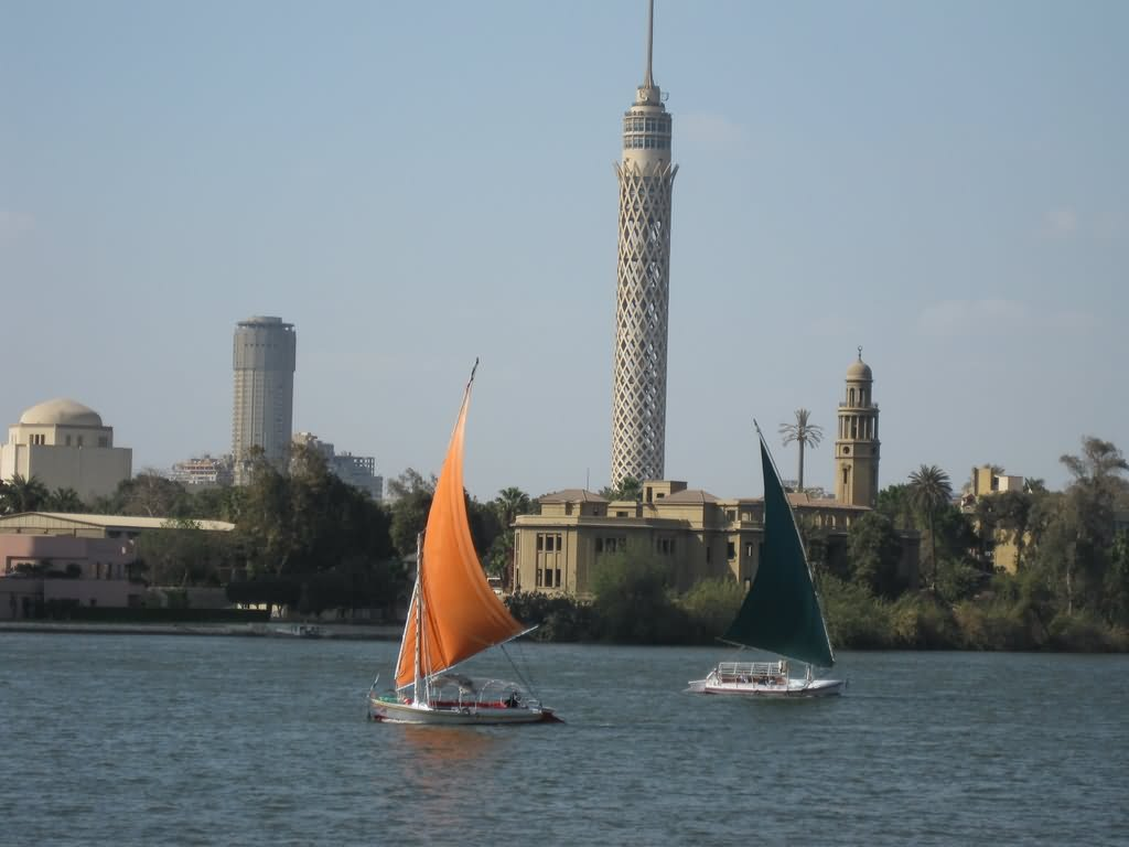 The Cairo Tower View Across The Nile River Picture