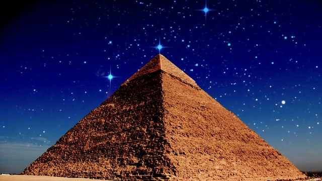 The Egyptian Pyramid Of Giza At Night