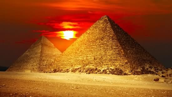 The Great Egyptian Pyramids By Sunset