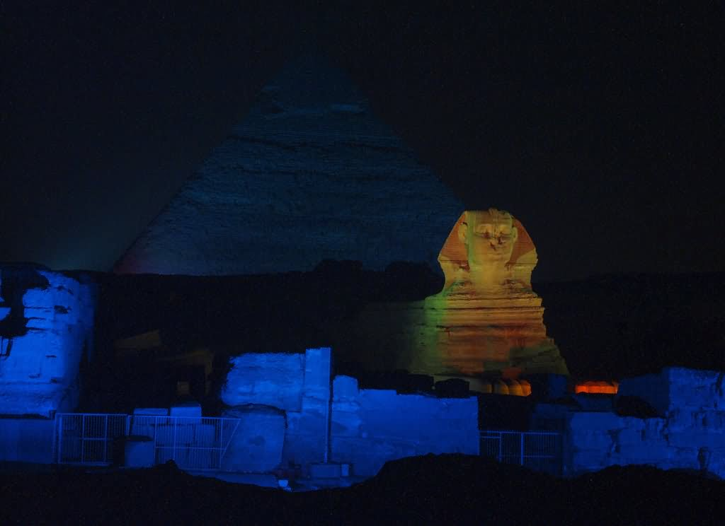 The Great Sphinx Of Giza Across The River From Memphis Night View