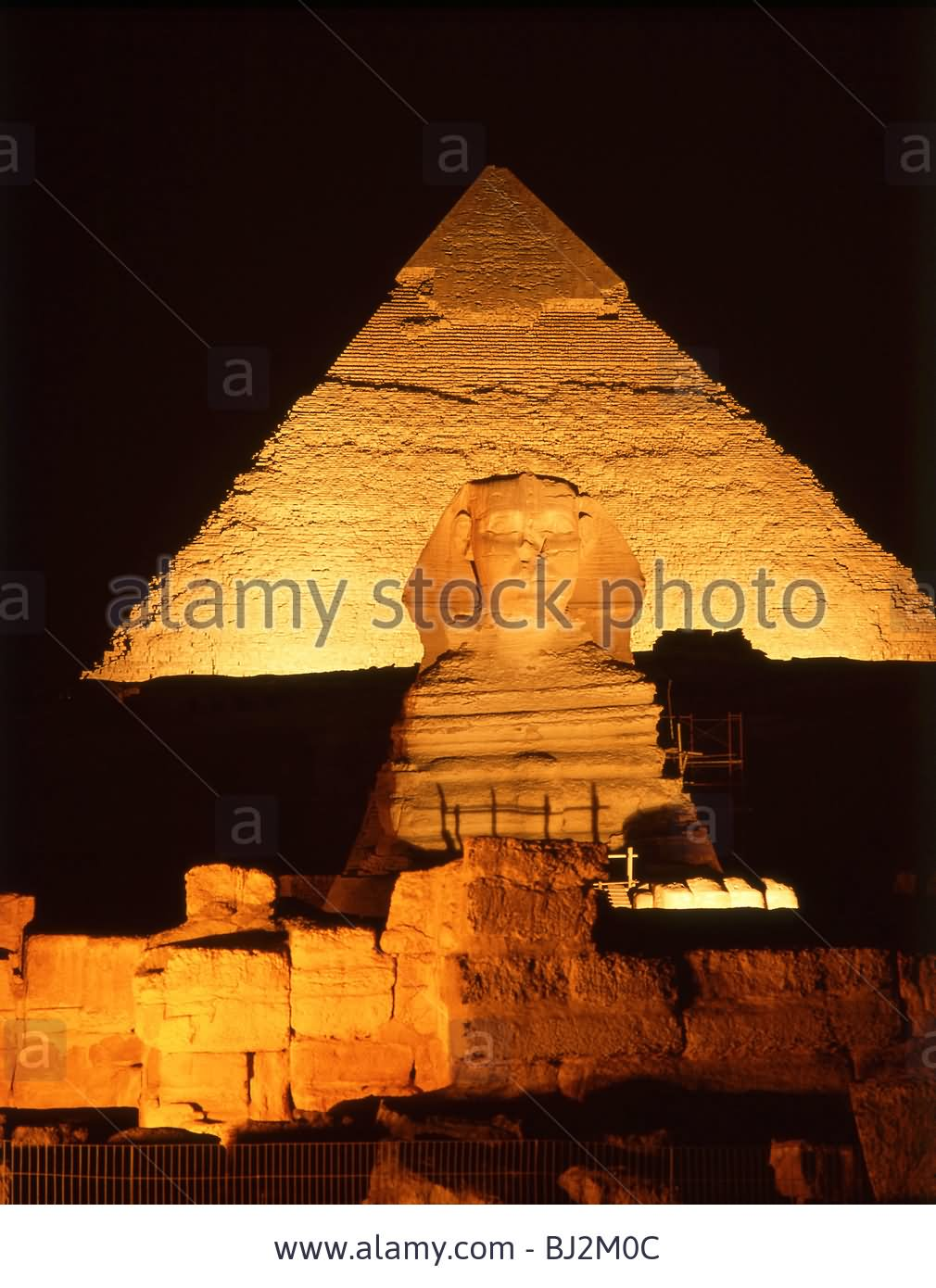The Great Sphinx Of Giza And Pyramid At Night