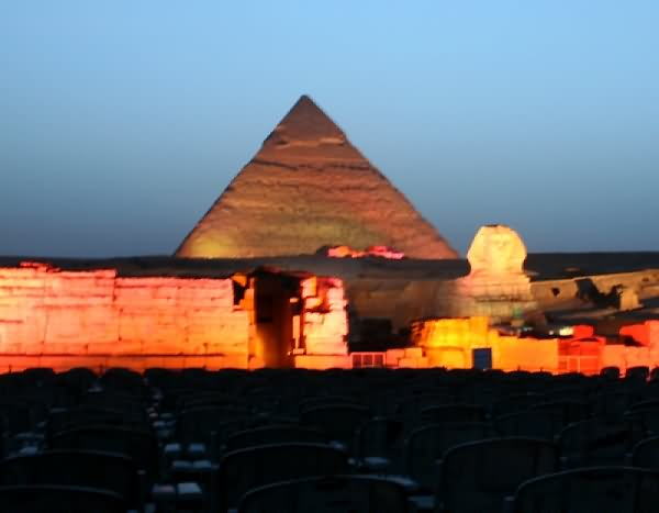 The Great Sphinx Of Giza And Pyramids At Night