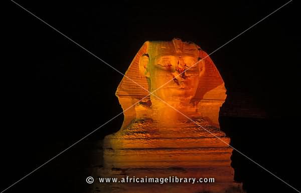 The Great Sphinx Of Giza Lit Up At Night
