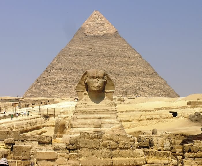 The Great Sphinx of Giza And Pyramid