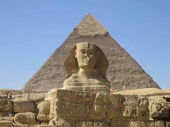 The Great Sphinx of Giza In Front Of Pyramid Of Khufu In Egypt