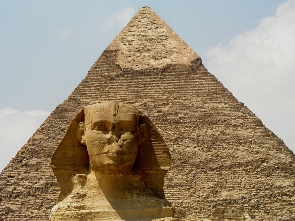 The Great Sphinx of Giza In Front Of Pyramid Of Khufu Picture