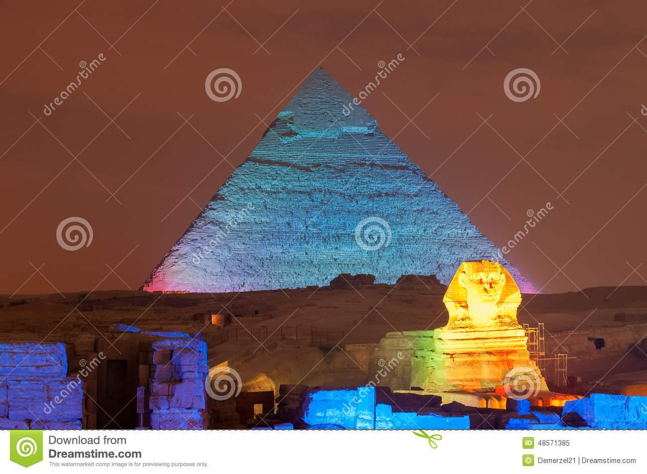 The Khufu Pyramid And Great Sphinx Of Giza Night View