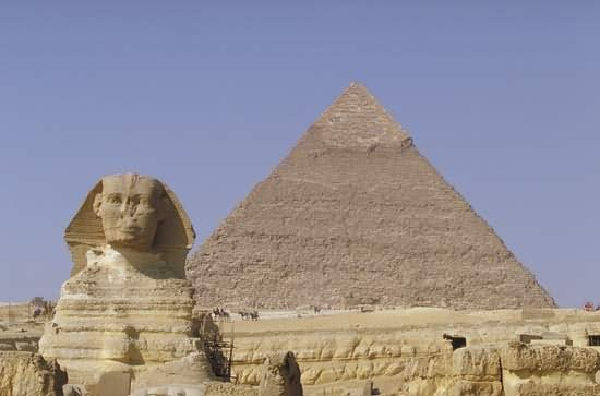 The View Of Great Sphinx of Giza And Pyramid