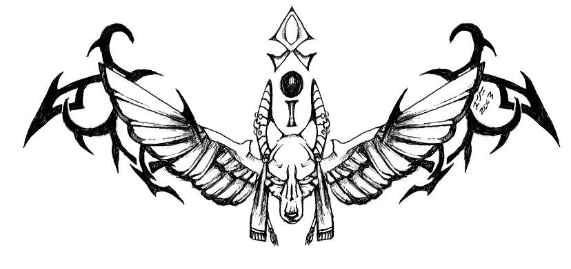 e25d12082 Tribal And Winged Anubis Tattoo Design