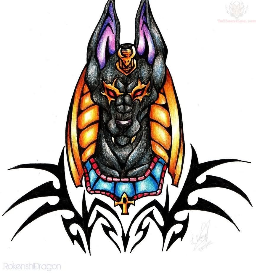 Tribal Tattoo With Color: 30+ Anubis Head Tattoos Design And Picture Ideas