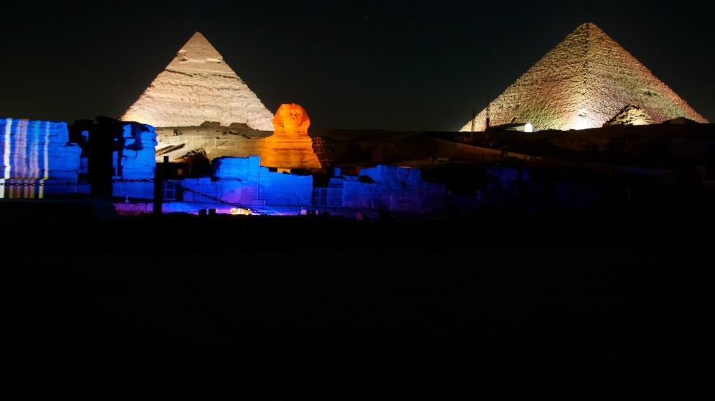 Two Pyramids and Great Sphinx At Night