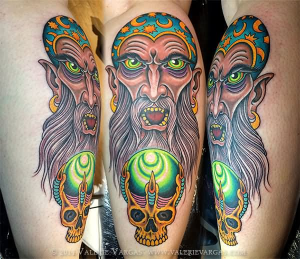 15 wizard with crystal ball tattoos for Wizard tattoo designs