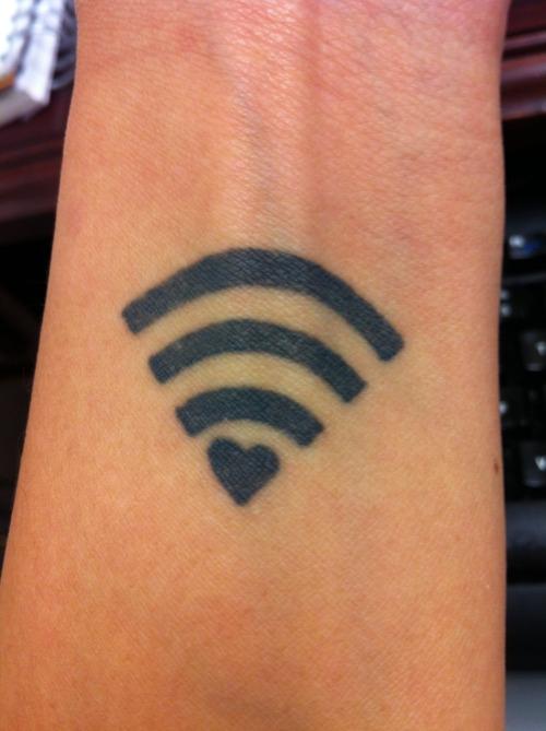 Wifi signal geek tattoo on wrist for Nerd tattoo designs