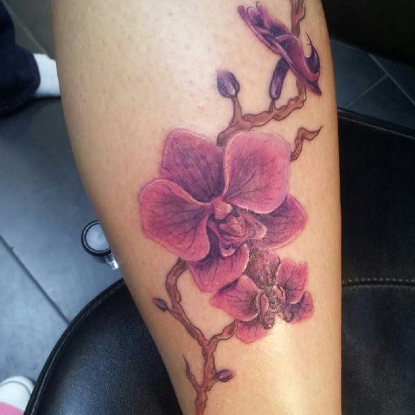 black and grey tribal orchid tattoo on leg. Black Bedroom Furniture Sets. Home Design Ideas