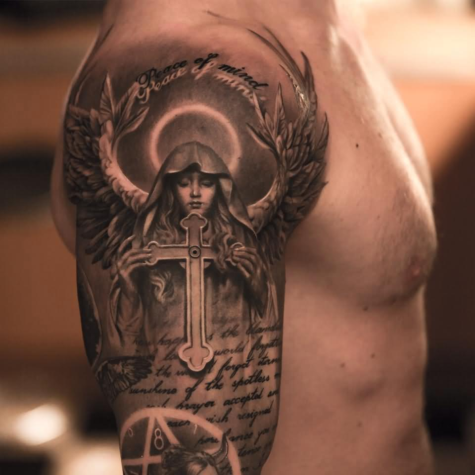 3d Cross In Saint Mary Hand With Wings Tattoo On Man Right Half