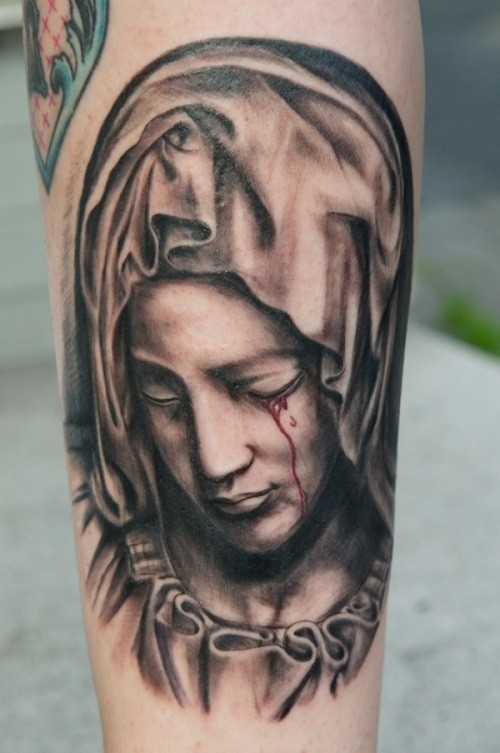 3d crying saint mary tattoo design for sleeve