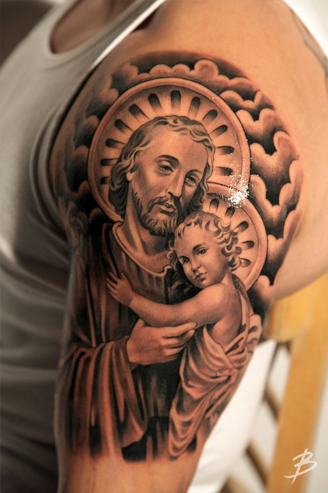 amazing saint christopher tattoo on man left full sleeve. Black Bedroom Furniture Sets. Home Design Ideas
