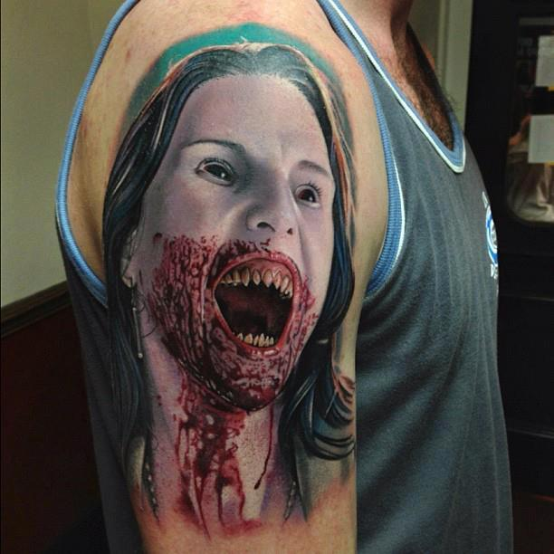 3D Vampire Face Tattoo Design For Half Sleeve