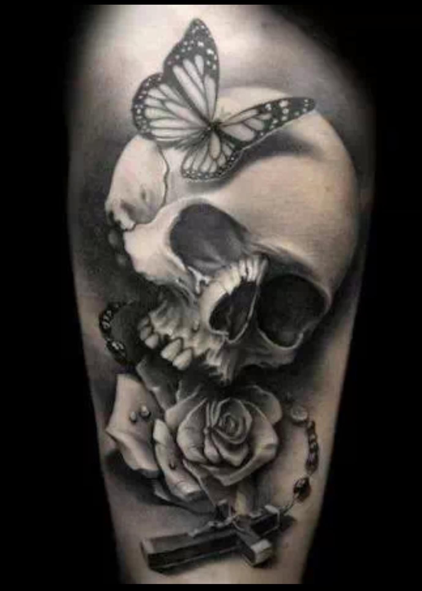 Simple skull tattoo designs - Tattoo Designs Cross Simple Skull 3d Vampire Skull With Rose And Rosary Cross Tattoo Design