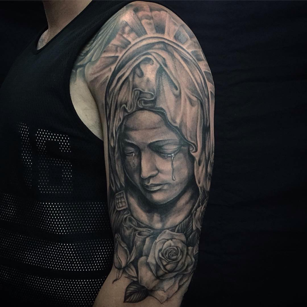 17 saint mary tattoos on half sleeve