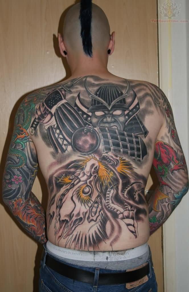 35 Samurai Back Tattoos