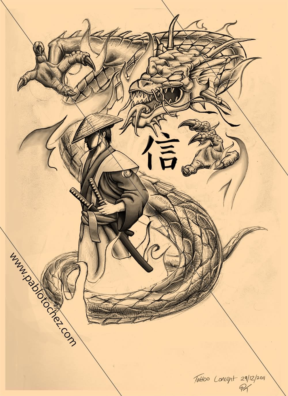 35+ Samurai Dragon Tattoo Design