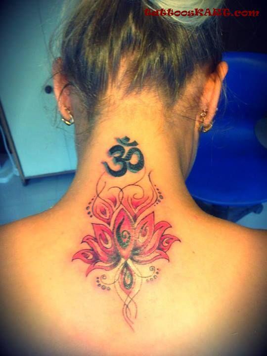 Attractive flower with jain om tattoo on girl back neck mightylinksfo
