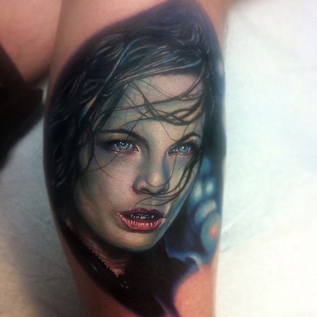 6c05b11c5 Attractive Vampire Girl Face Tattoo On Leg Calf