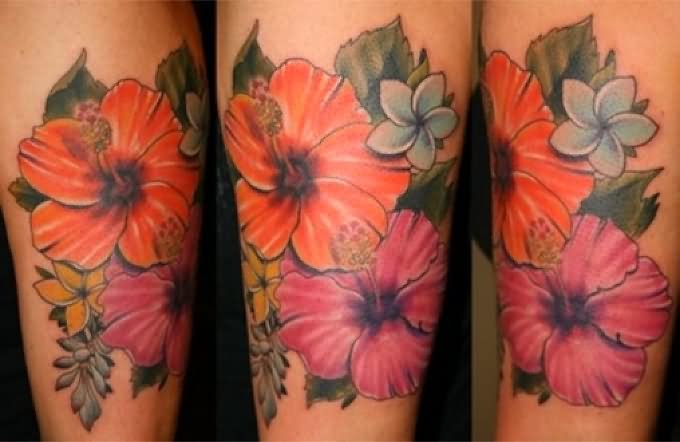 4927384df Awesome Colored Hibiscus Flower Tattoos