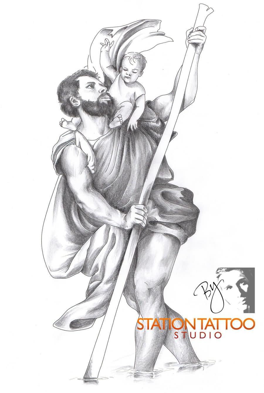 Black Ink Saint Christopher Tattoo Design For Forearm