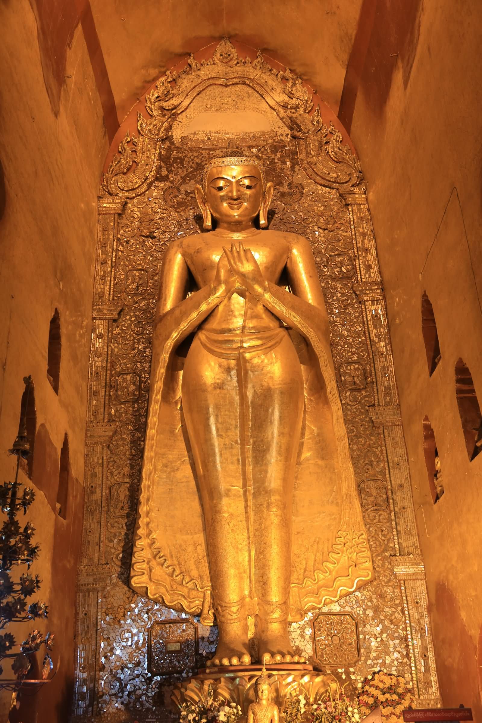 Beautiful Golden Lord Buddha Statue Inside The Ananda Temple