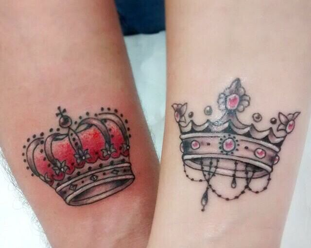 Beautiful King And Queen Crown Tattoo Design For Couple