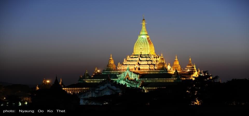 Beautiful Night View Of Ananda Temple
