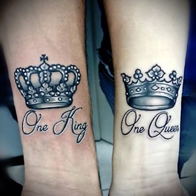Black And Grey King Queen Crown Tattoo On Wrist
