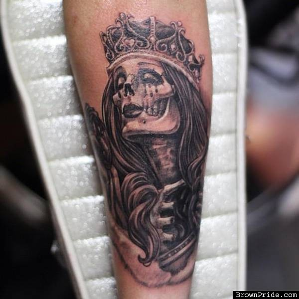 Black And Grey Queen Skeleton Tattoo Design For Forearm