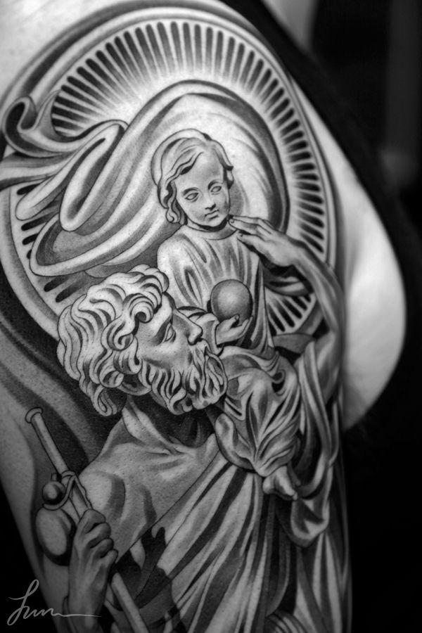 black ink saint christopher tattoo on right half sleeve by zach brunner. Black Bedroom Furniture Sets. Home Design Ideas
