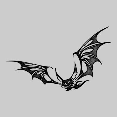 Black Ink Flying Vampire Bat Tattoo Design