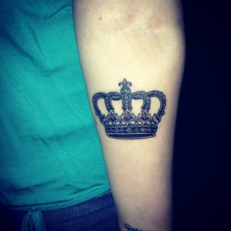 Black Ink Queen Crown Tattoo Design For Forearm