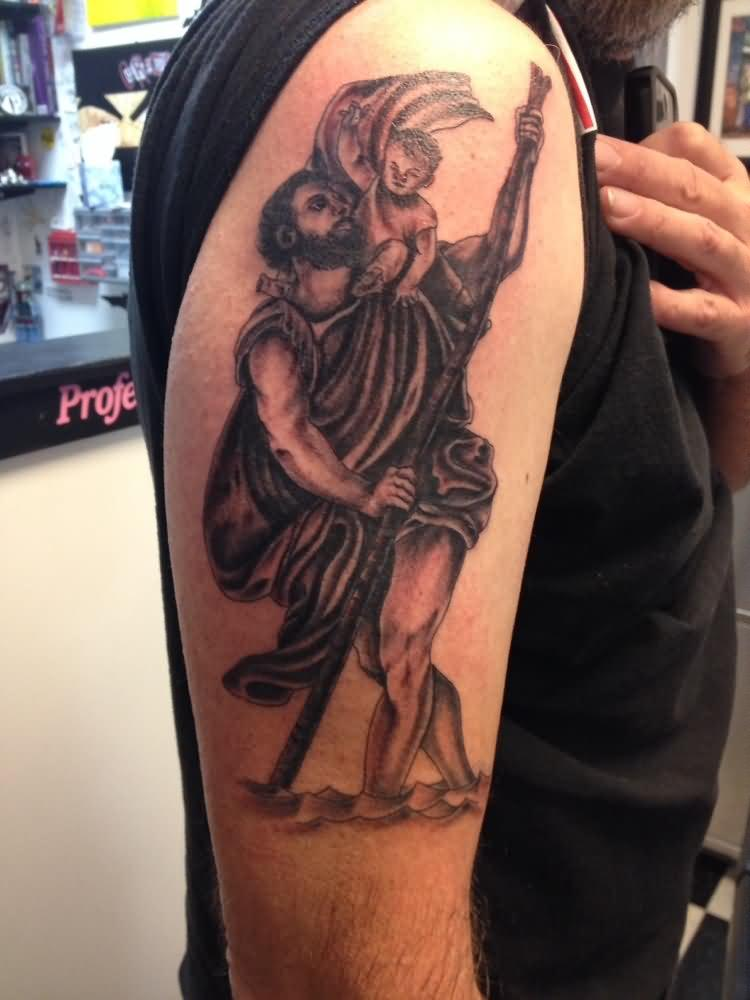 Black Ink Saint Christopher Tattoo On Right Half Sleeve