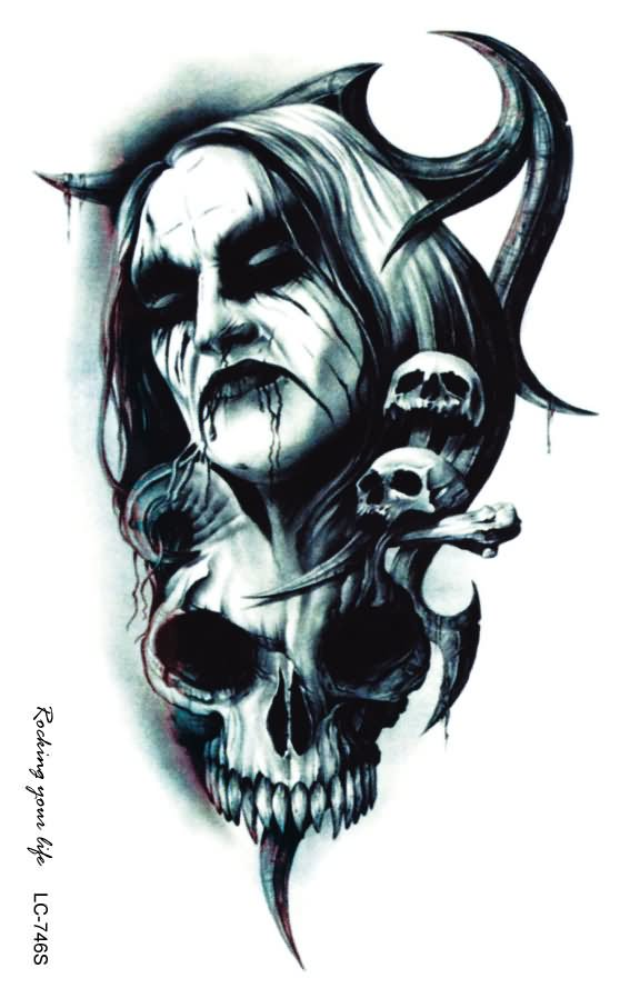 Black ink vampire with skull tattoo design