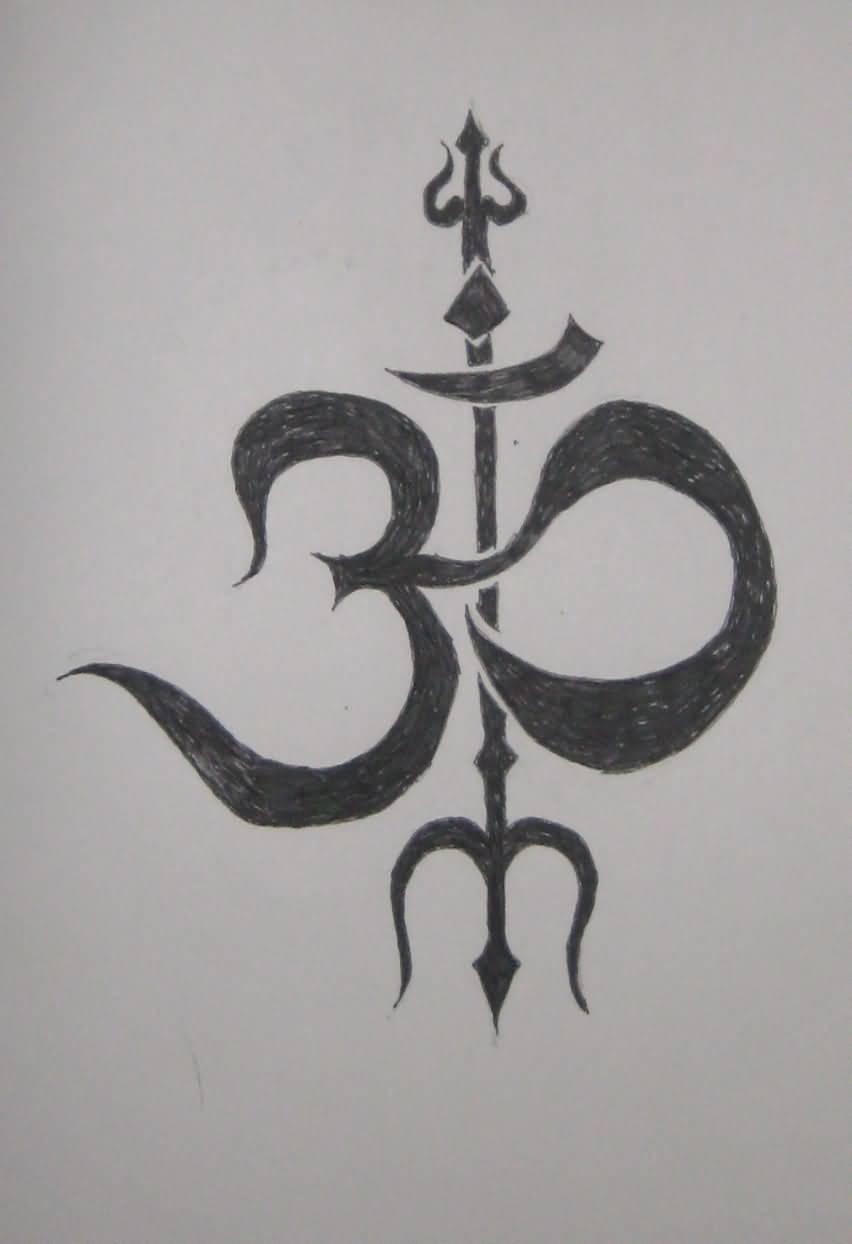 Black Jain Om With Trident Tattoo Design By Minh