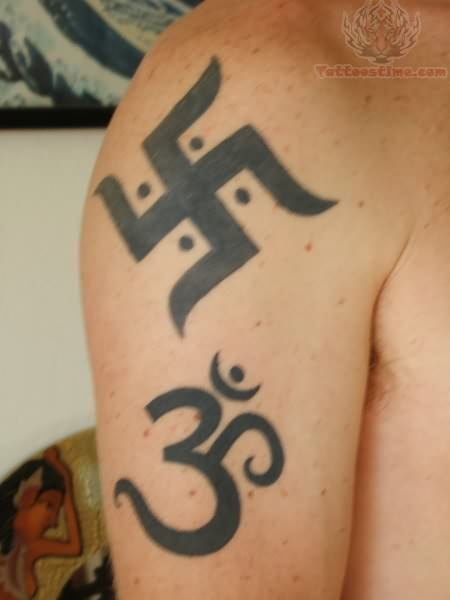 Black Jain Swastik And Om Tattoo On Right Half Sleeve