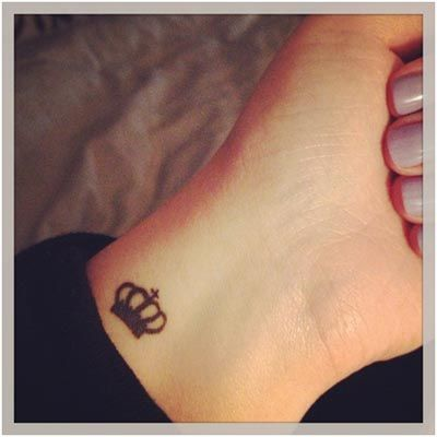Black Little Queen Crown Tattoo Design For Wrist