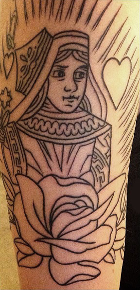 Black Outline Queen With Rose Tattoo Design