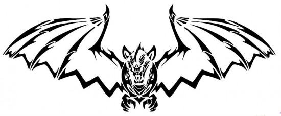 Black Outline Tribal Vampire Bat Tattoo Design