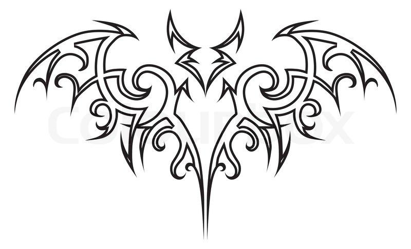 dd2ec4e4ff902 Black Outline Tribal Vampire Bat Tattoo Stencil