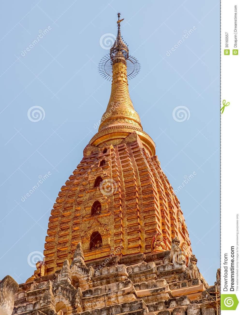 Closeup Of Top Of Ananda Temple In Myanmar